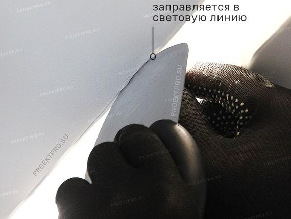 Монтаж полотна вдемпфер световой линии slott