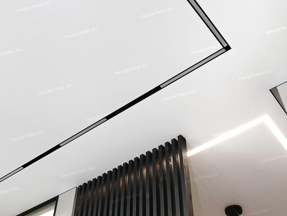 Теневой натяжной потолок еврослотт с треками